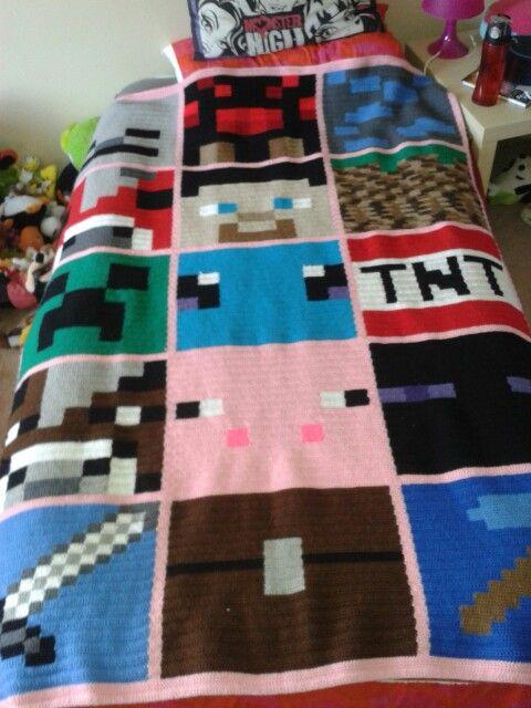 Girl Crochet Minecraft blanket | My crochet works........Mis tejidos ...