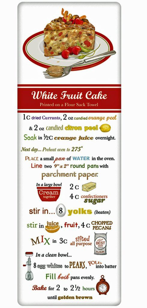 Christmas Fruit Cake Recipe 100% Cotton Flour Sack Dish Towel Tea Towel