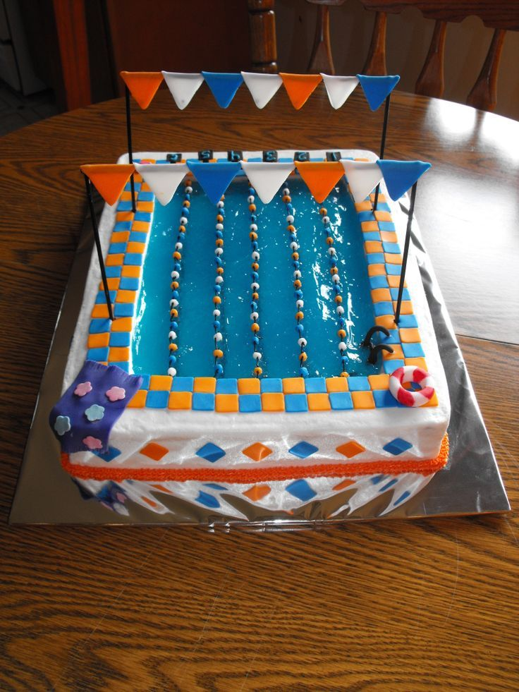Olympic Pool Birthday Cake Swim Team Swimmer Olympic Games Pinterest Pool Birthday