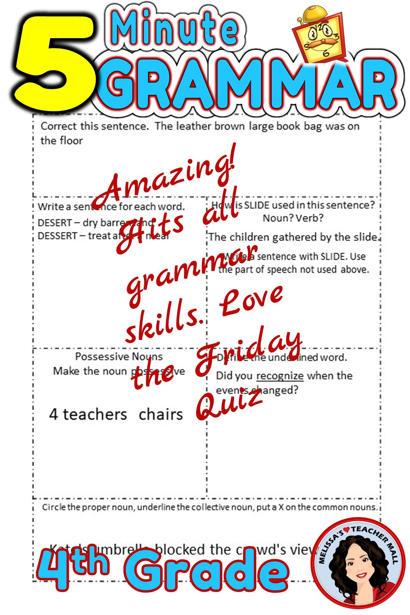 5 Minute Grammar Daily Grammar Worksheets 4th GRADE Practice and