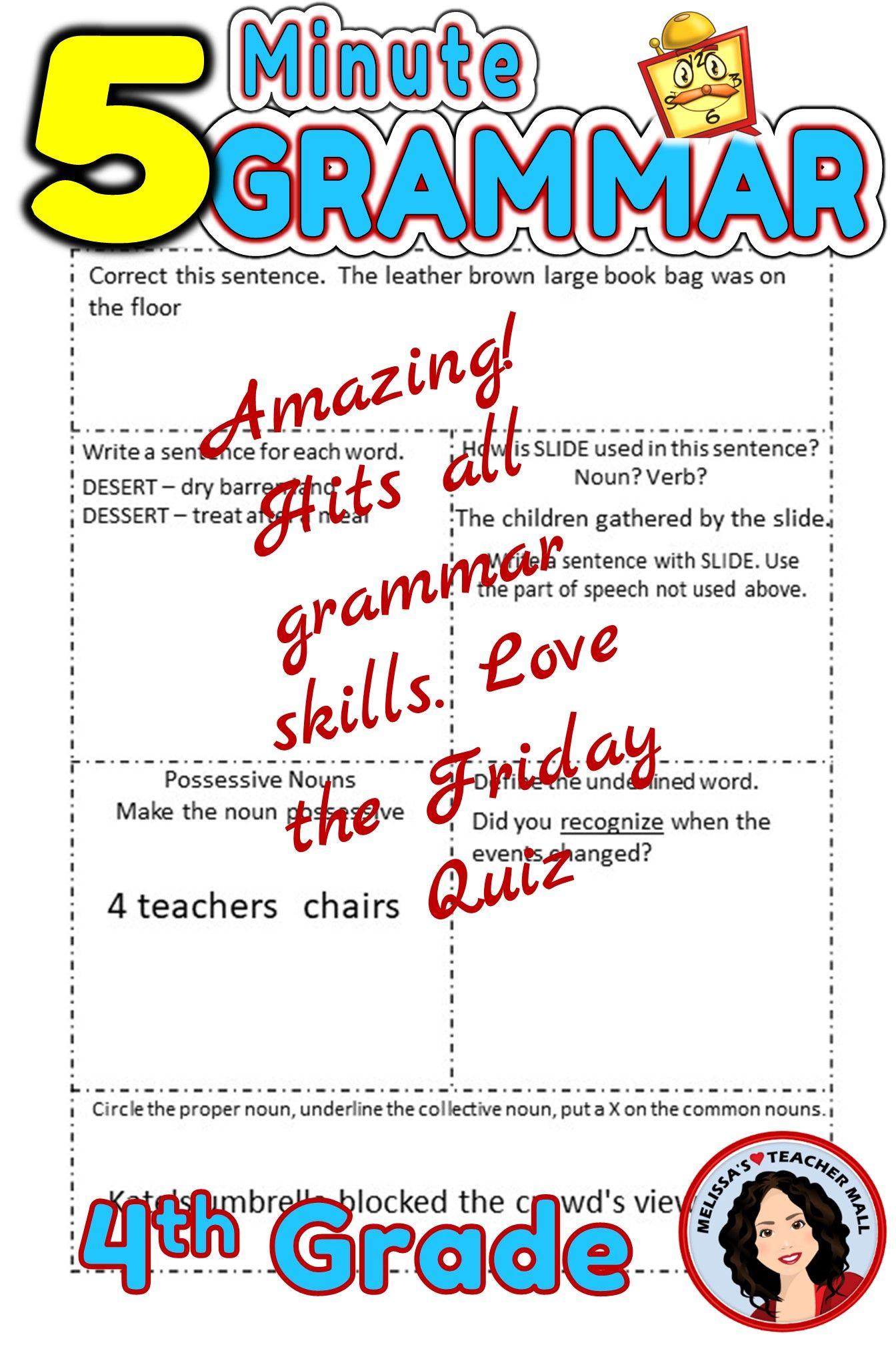5 Minute Grammar Daily Grammar Worksheets 4th Grade