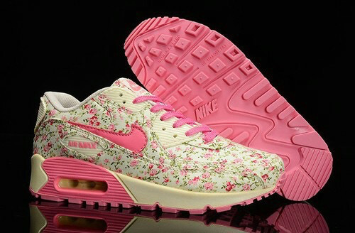 Trendy Womens Nike Air Max 90 Flower Print Series PRM Floral/Peach/Flower/ Pink/Beige Trainning Shoes On Sale