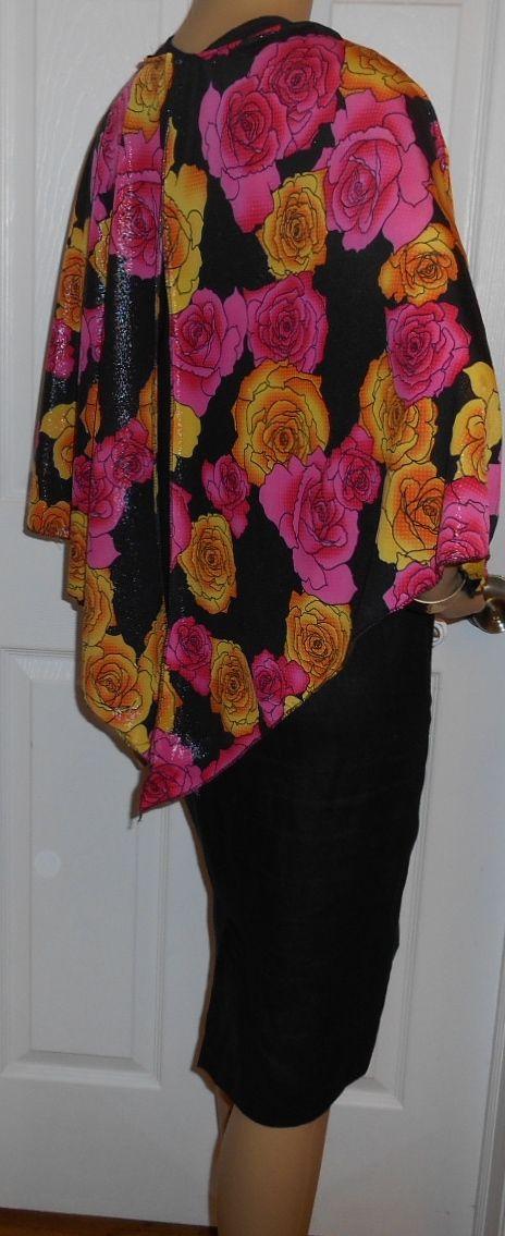 Hot Pink/golden roses shimmer poly lycra shimmer knit cape. Great for evening wear
