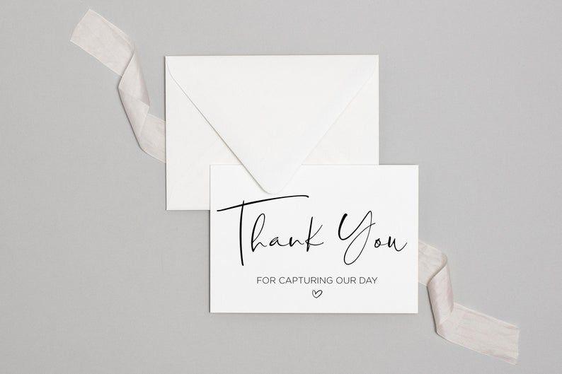 Printable Thank You Photographer Card wedding Gift Ideas Wedding Thank You Card For Wedding Photographer Thank You For Capturing Our Day