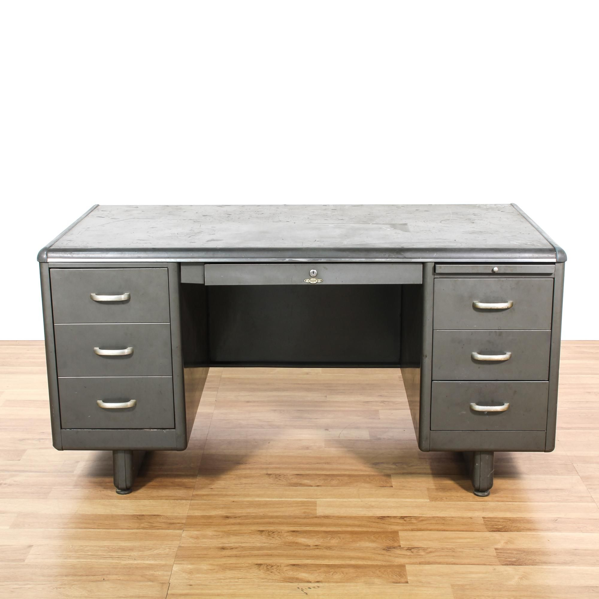 distressed industrial furniture. This Industrial Tanker Desk Is Featured In A Durable Metal With Distressed Charcoal Gray Finish Furniture