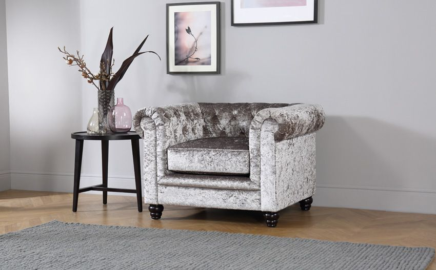 H&ton Silver Crushed Velvet Chesterfield Armchair & Hampton Silver Crushed Velvet Chesterfield Armchair | home decor ...