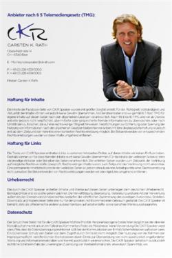 ckr-speaker-facebook-impressum -- Carsten K. Rath ist Unternehmer und Hochschuldozent – vor allen Dingen aber ist der Entrepreneur Grand Hotelier und überzeugter Service- & Qualitäts-Enthusiast. -In Zusammenarbeit mit unserem Partner F@Boom. -- Facebook Impressum, App Tab, Persöhnliches Impressum, Social Media Impressum