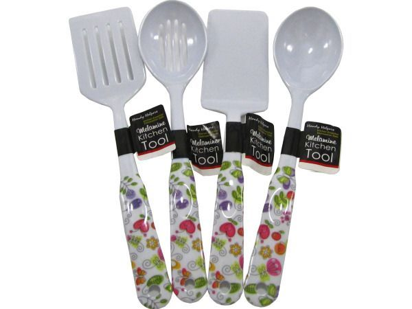 "Melamine Floral Kitchen Tools, 48 - Add a unique look to any kitchen with these essential Melamine Floral Kitchen Tools featuring durable white tools accented with a floral motif on the handles. Assorted designs include a serving spoon, a slotted spoon, a slotted spatula and a flat spatula. All are dishwasher safe and measure approximately 12.5"" to 13"" long. Comes packaged with a wrap around tag.-Colors: white,green,red,orange,pink. Material: plastic. Weight: 0.0875/unit"