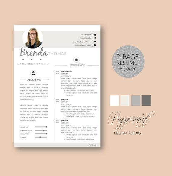 Page Resume Template Cover Letter For Word By Pappermint On Etsy
