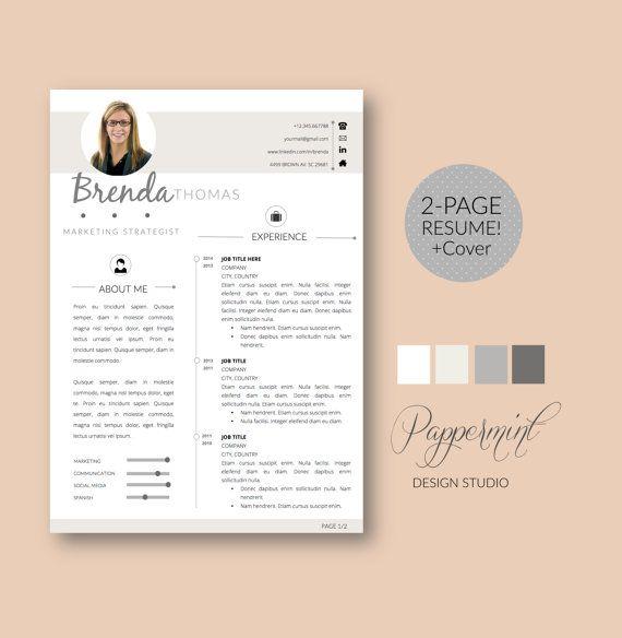 plantilla para cv con foto y cover letter para word por pappermint