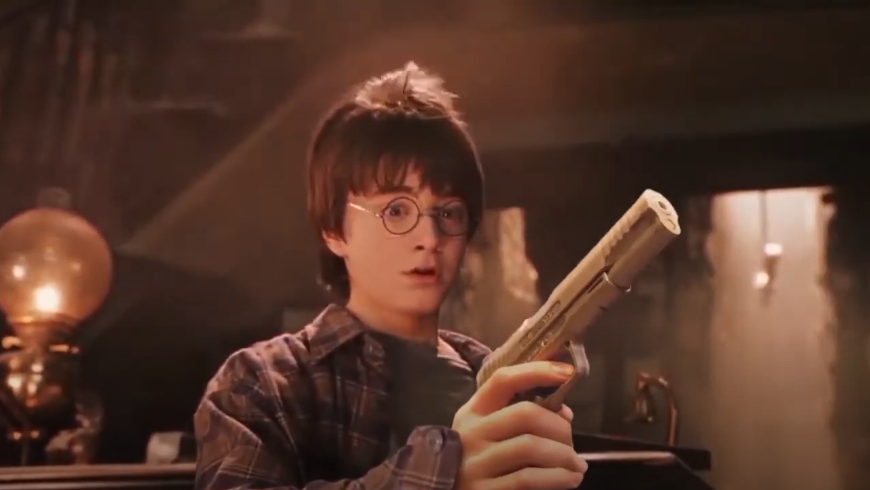 Somebody Remade The Entire First Harry Potter Movie But Replaced The Wands With Guns First Harry Potter Movie First Harry Potter Young Harry Potter