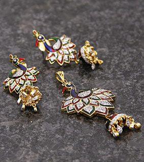 Golden & Multicoloured Embellished Peacock Pendant Set