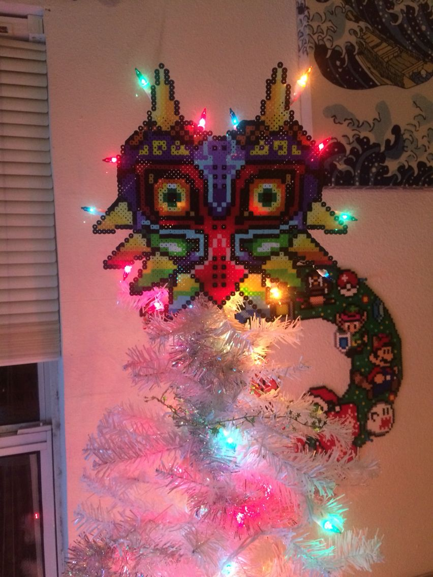 Majoras Mask Perler bead Christmas tree topper by Meg Murphy