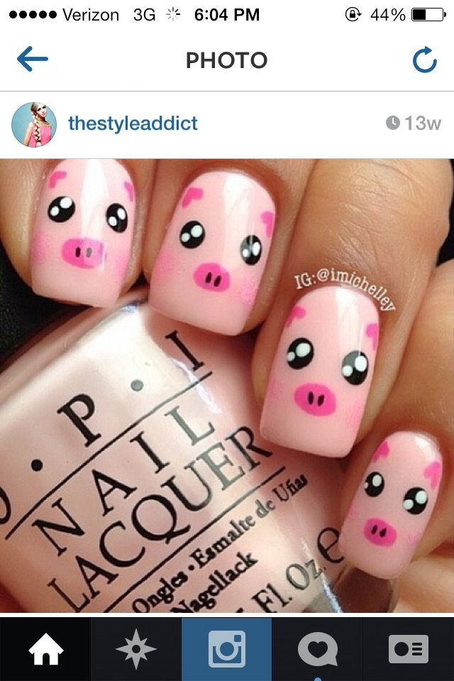 cute nail designs for summer its cute pigs - Omg