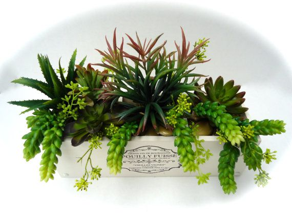 Succulent Arrangement (Artificial) in Rustic Wooden Planter - Table Centerpiece, Decorative Succulent Arrangement More terrarium design.  #Garden#Mini#Dekor