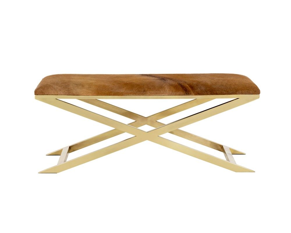 SAHARA BENCH | ANTIQUE BRASS | COGNAC COWHIDE | The Sahara bench is beauitfully unique as no two are the same. Features a stunning natural cowhide seat top on an impressive x-base stainless steel frame. Great for contract and residential installs.