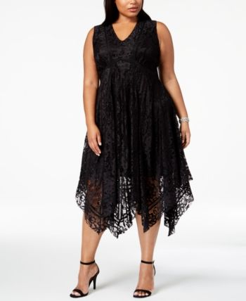 Taylor Plus Size Lace Handkerchief-Hem Dress - Black 14W ...