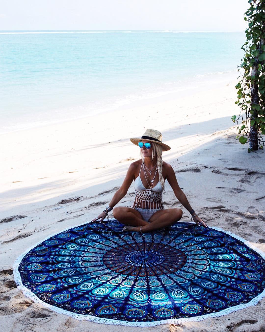 Pixnor Mandala rotondo Lotus Beach Throw Tapestry coperta coperta tappeto hippy boho zingara tovaglia telo mare rotondo tappetino yoga giallo