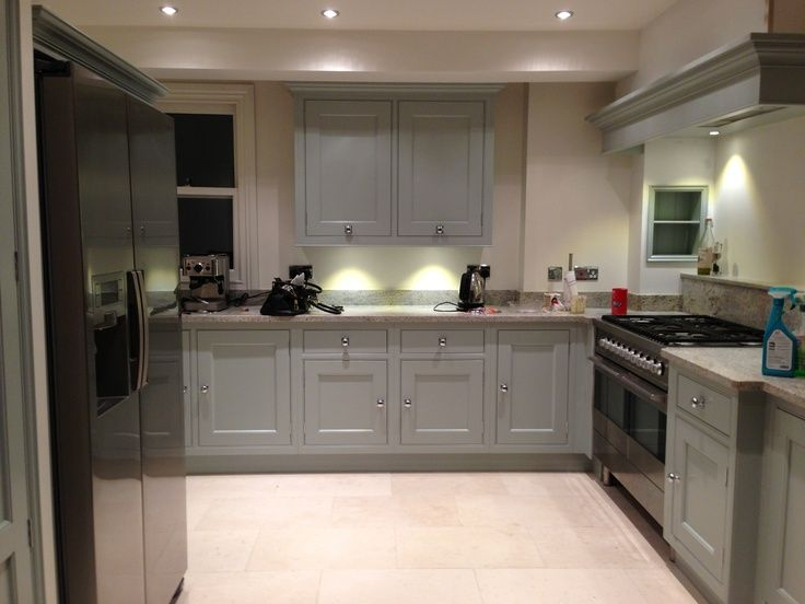 Modern country style case study farrow and ball light for Light blue kitchen paint