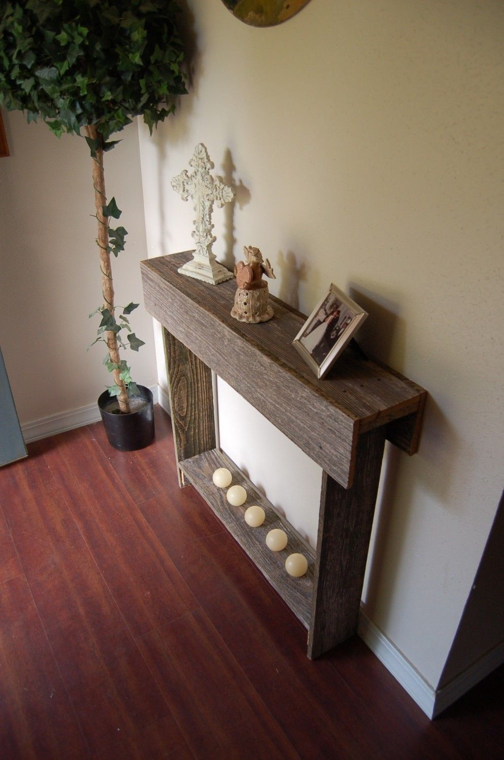 Thin Console Table Entry Way Table Reclaimed Cedar Skinny Wall Table  Cottage Decor. 30 X