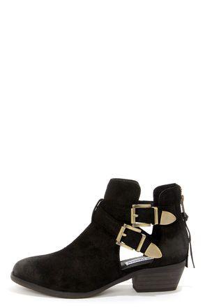 eb96a6638d9 Steve Madden Cinch Black Suede Leather Cutout Ankle Boots   [Shoe ...