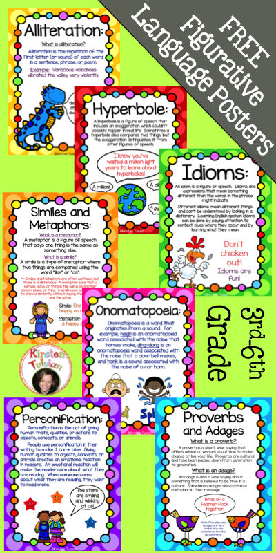 FREE Figurative Language Poster Set FREE posters include – Figure of Speech Example Template