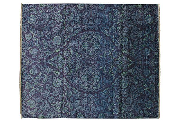 One Kings Lane - Worldly Appeal - 7'x10' Bly Rug, Blue
