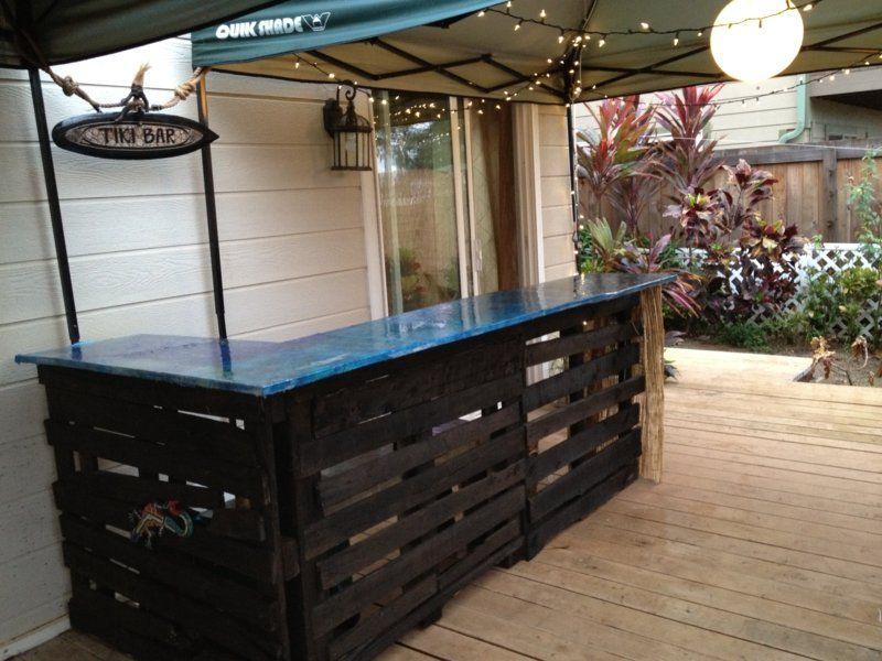 Moebel Aus Europaletten Bar Theke Idee Outdoor Terrasse