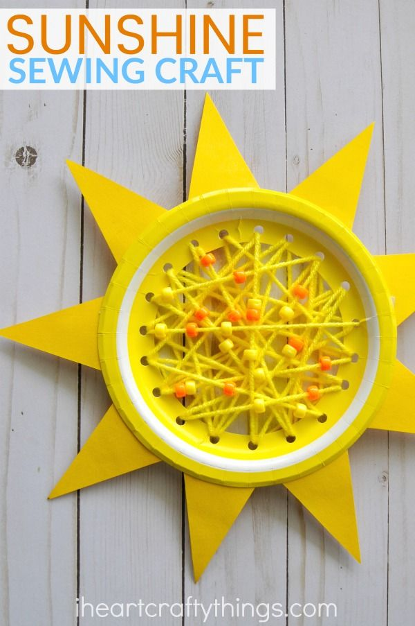 Paper Plate Sun Summer Sewing Craft Group Craft Summer Pinterest