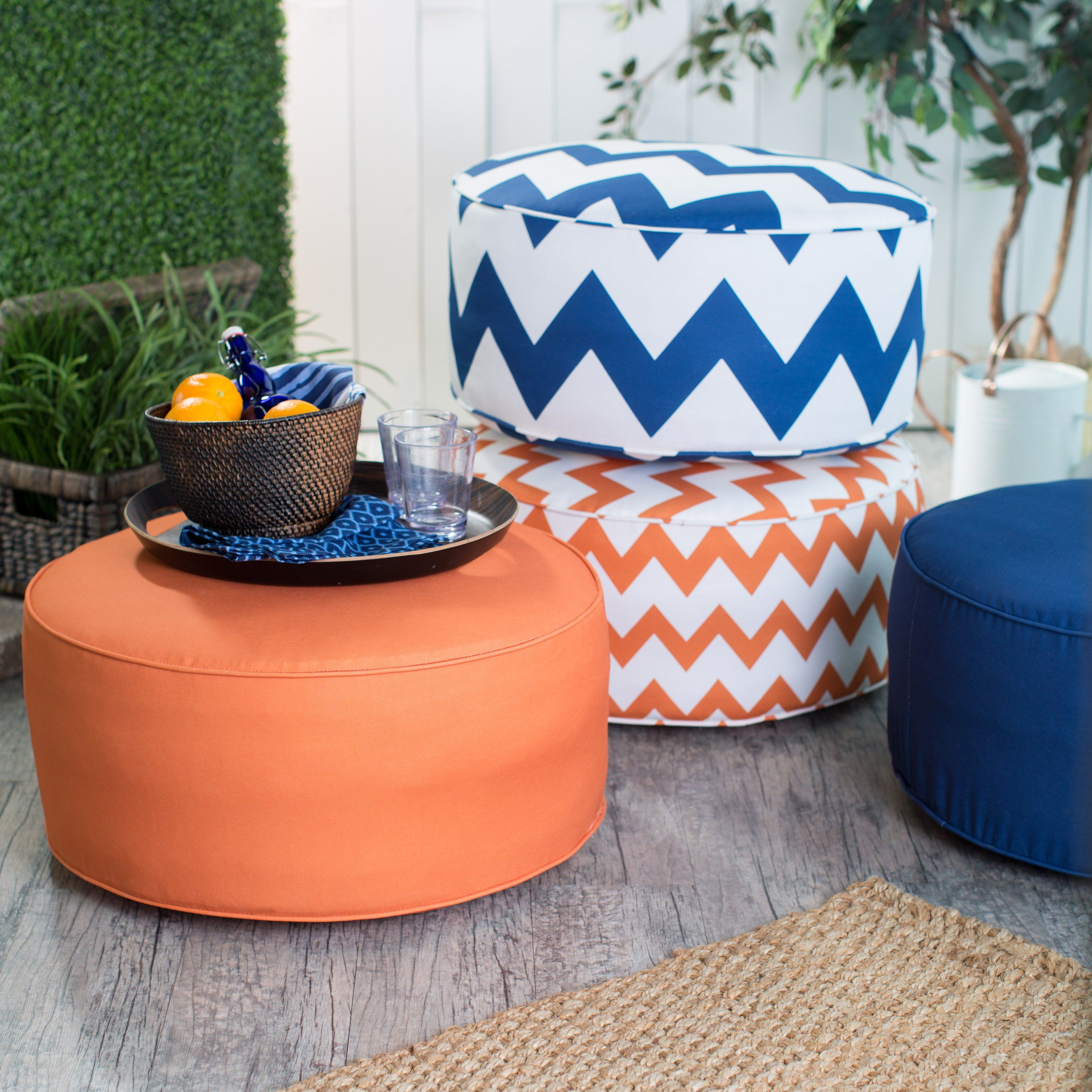 Have to have it. Coral Coast Valencia Round Pouf Ottoman - 20 in ...