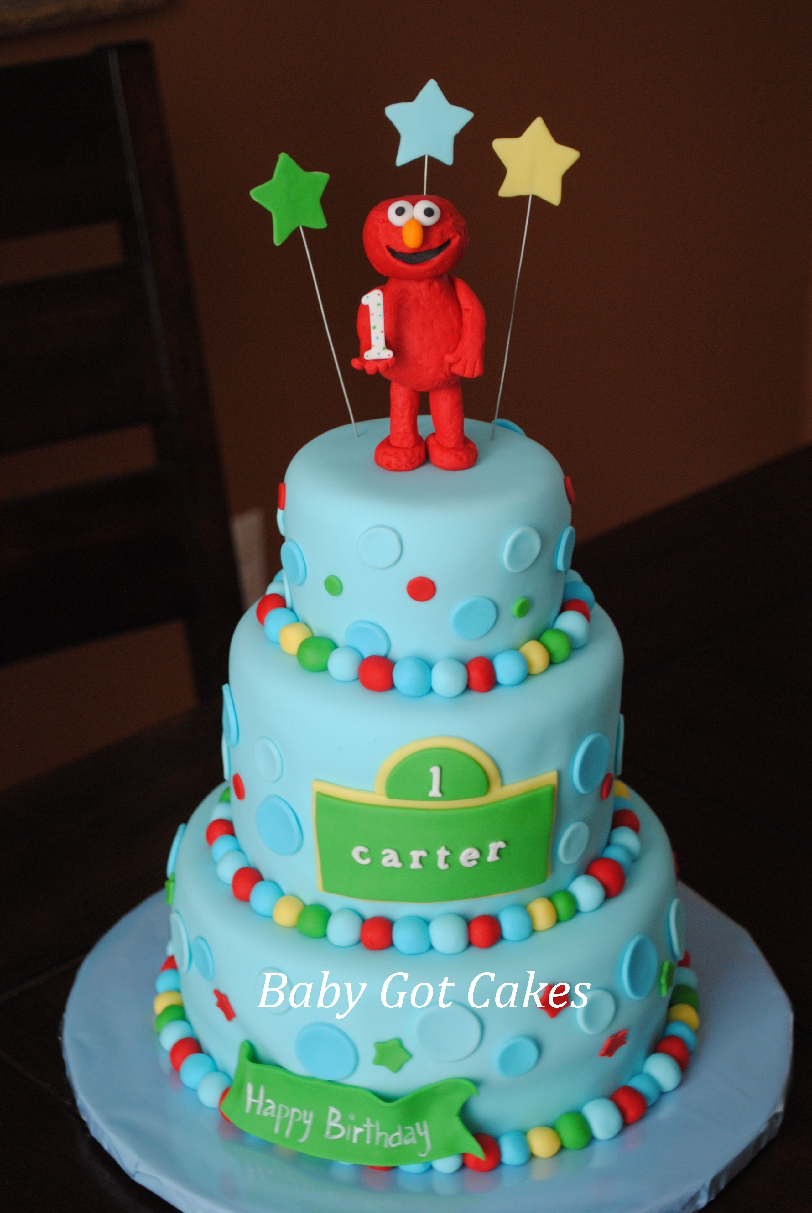 Elmo 3 tier cake 1st Birthday Cakes Pinterest Tiered cakes