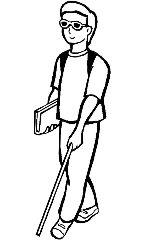 Blind Man Coloring Page In 2020 Coloring Pages Free Coloring