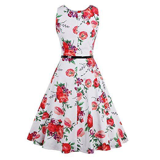 iPretty elegant Damen Sommerkleid ärmellos mit Gürtel ...