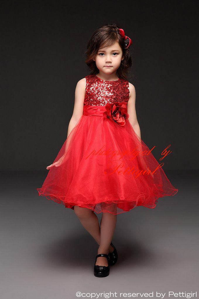 Pettigirl Girls Red Sequins Voile Party Dresses Sleeveless