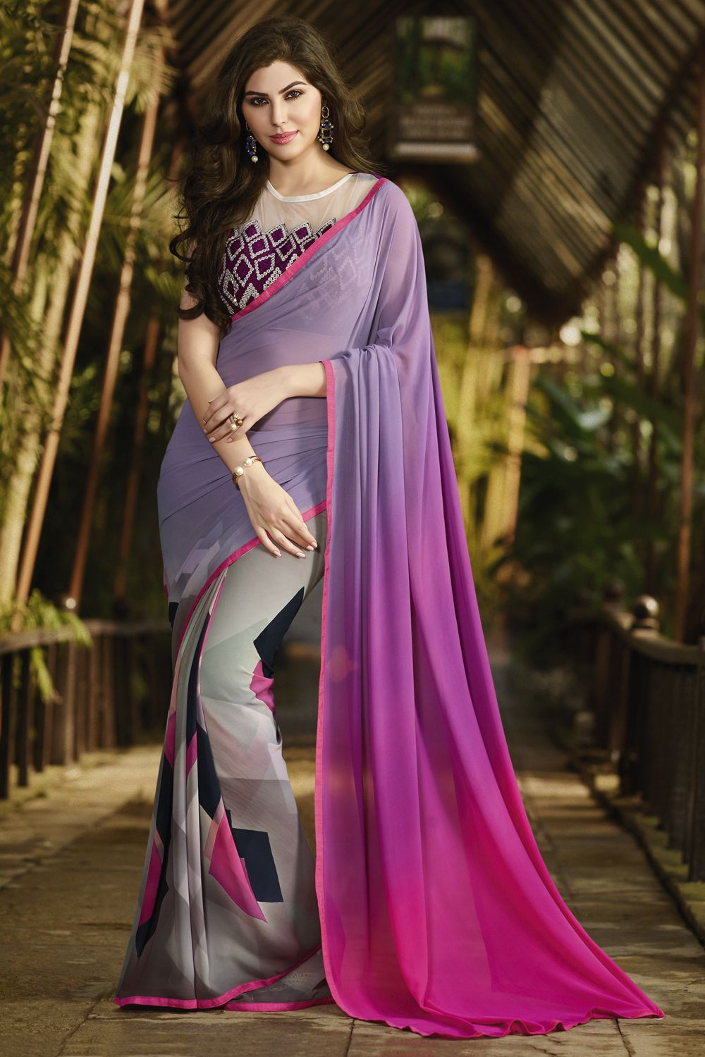 Exclusive Unique Georgette Sarees Rich Pink N Elephant Grey Combination To Wow The Viewers