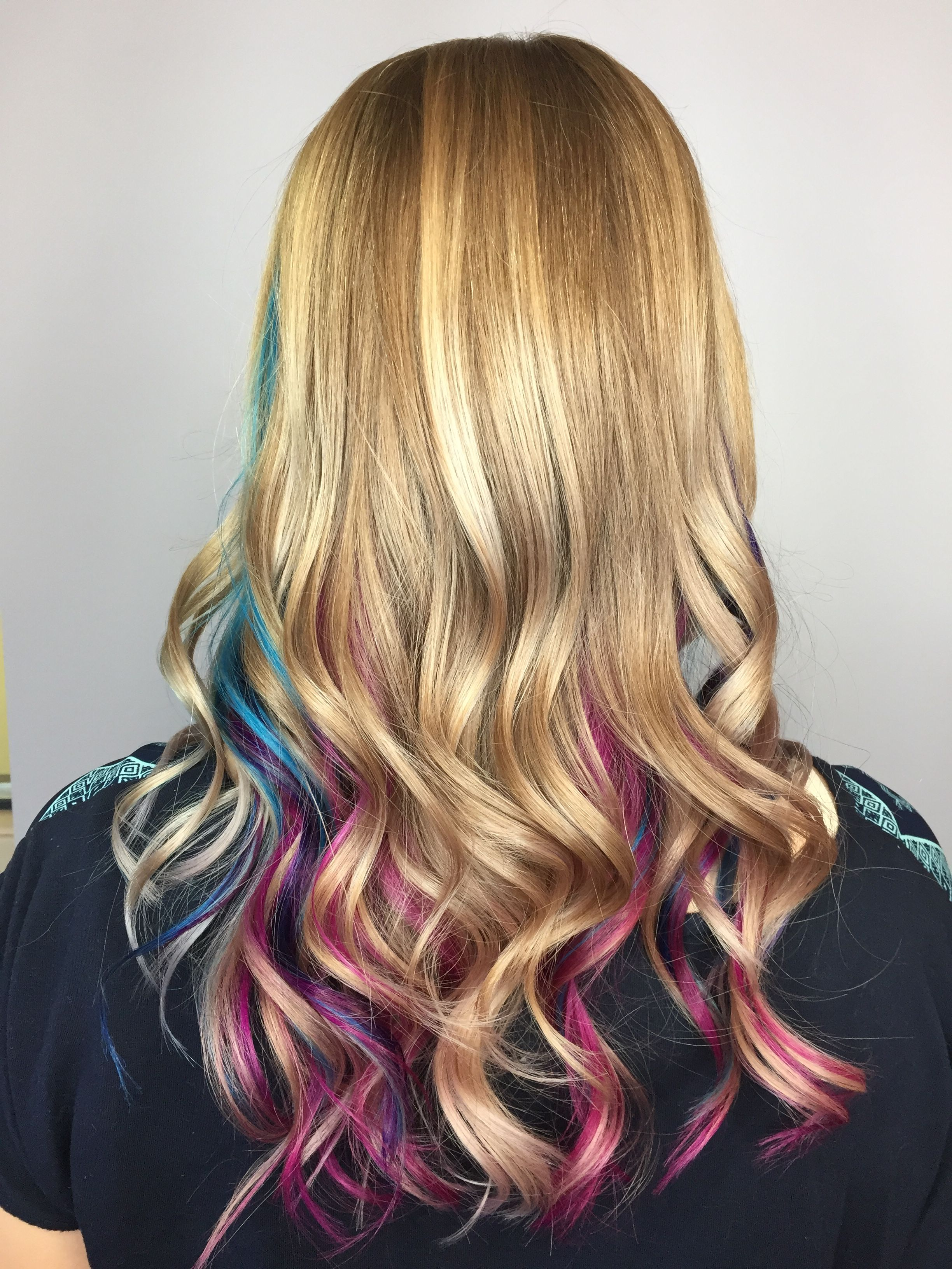 Pink Purple And Blue Teal Peekaboo Highlights Under