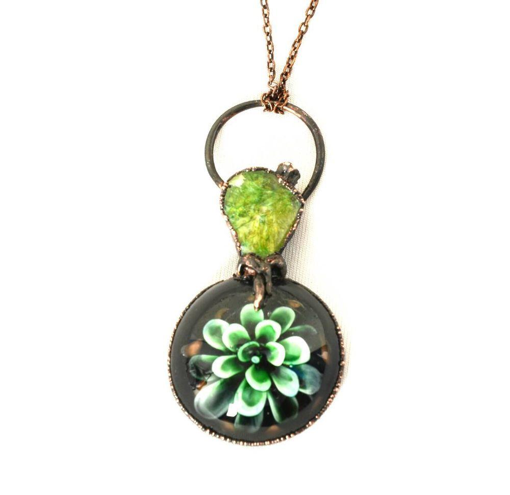 1 Piece Lampwork Art Glass Flower Floral Glass Agate Electroformed Pendant Chain #Locket