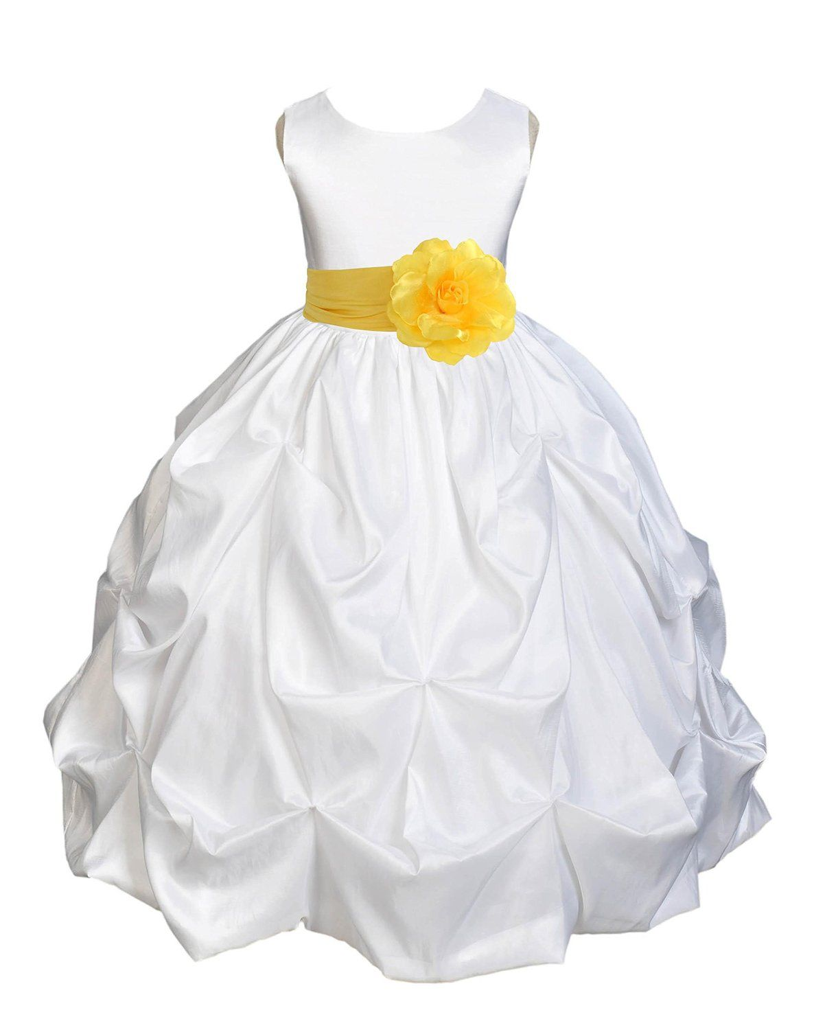 Royal blue and white wedding dress  Amazon Wedding Pageant White Bubble Pickup Kid Flower Girl