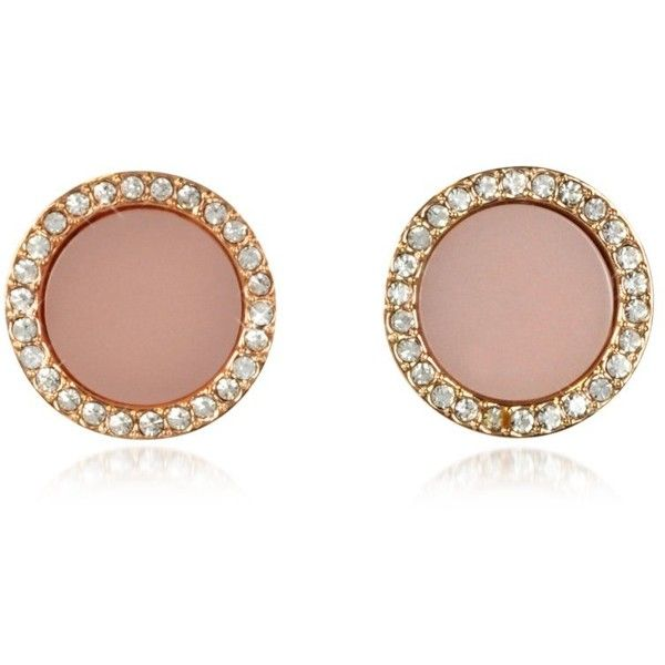 3276c710a5237f Michael Kors Earrings Heritage Rose Gold Stud Earrings w/Crystals (705 HRK)  ❤ liked on Polyvore featuring jewelry, earrings, pink, michael kors earrings,  ...