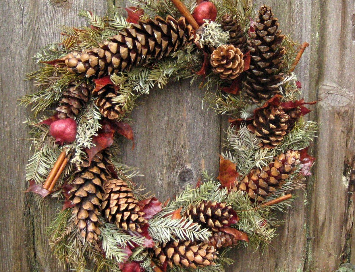 Natural Christmas Wreath -Rustic Winter Ruby- Pomegranate ...