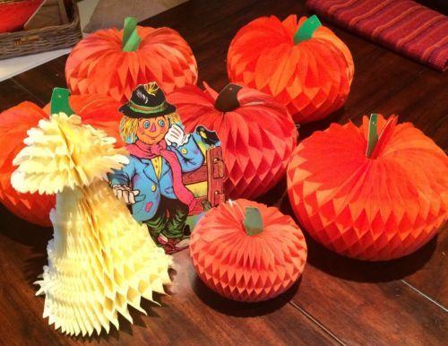 6-Vtge-Beistle-Halloween-Thanksgiving-Honeycomb-Pumpkin-Decorations-Scarecrow