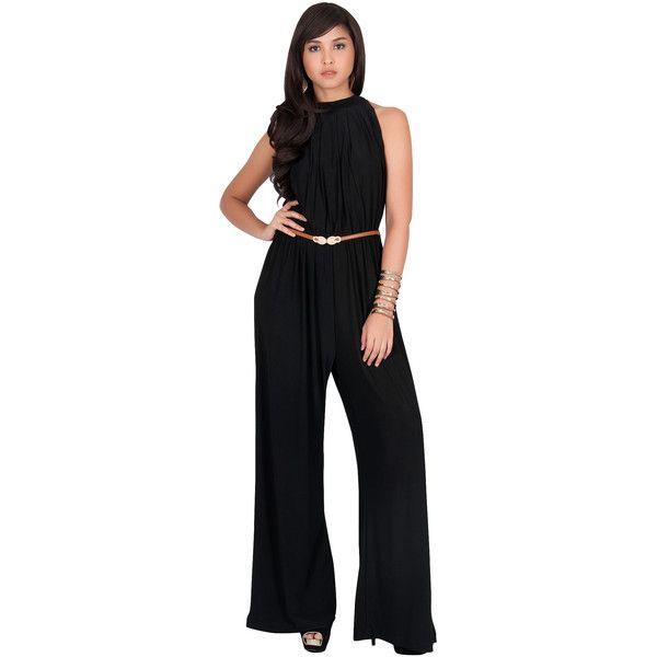 887aee4dd485 KOH KOH CELINE - Sleeveless Halter Neck Draped Belted Jumpsuit ( 57) ❤  liked on Polyvore featuring jumpsuits