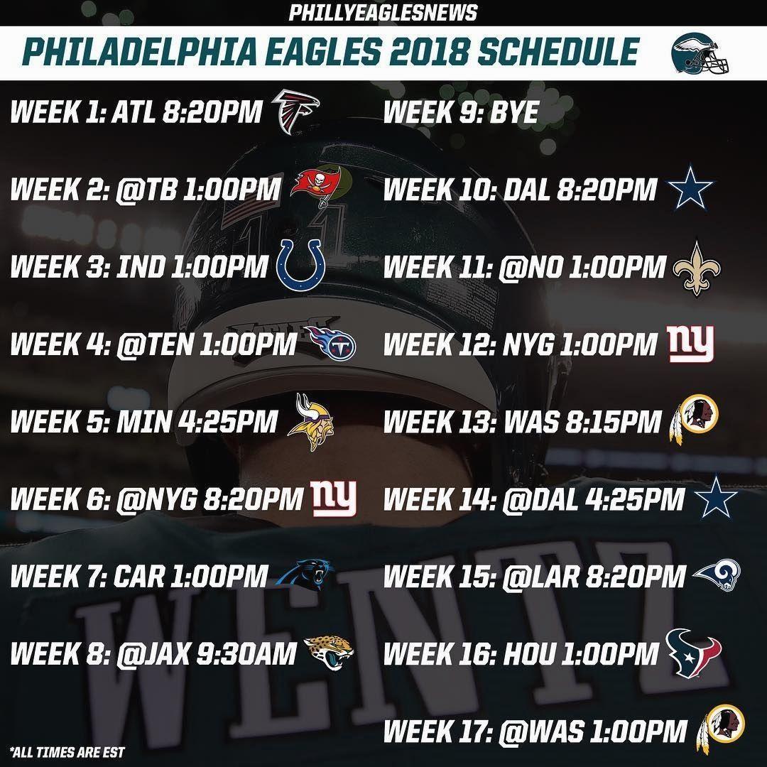 Philadelphia Eagles 2018 Regular Season Schedule Week 1 Vs Falcons 8 20pm Nbc Tnf Kickoff Game Philadelphia Eagles Fans Philadelphia Philadelphia Eagles