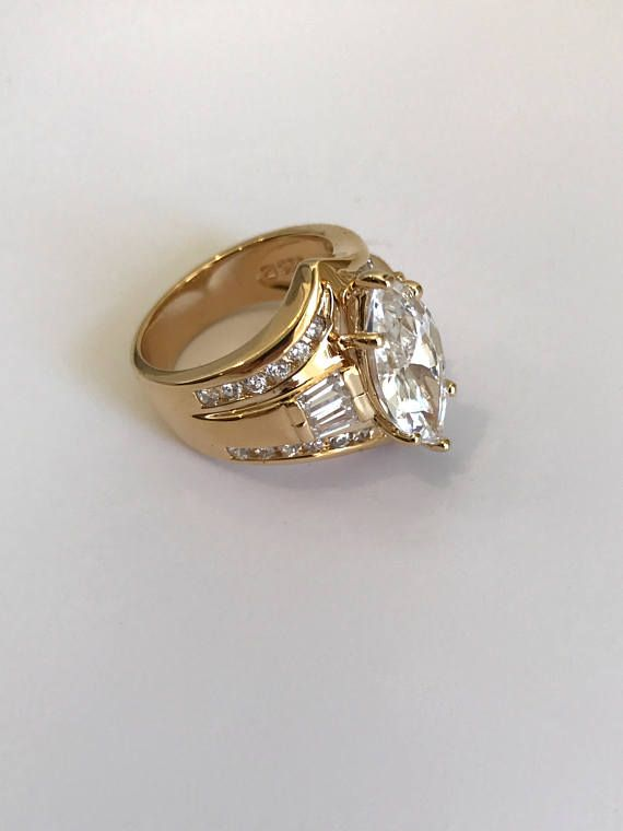 Vintage Gold Vermeil Marquise Baguette And Pave Estate Ring Multi Stone Right Hand Ring White Stone White Ring Pretty Jewellery Right Hand Rings