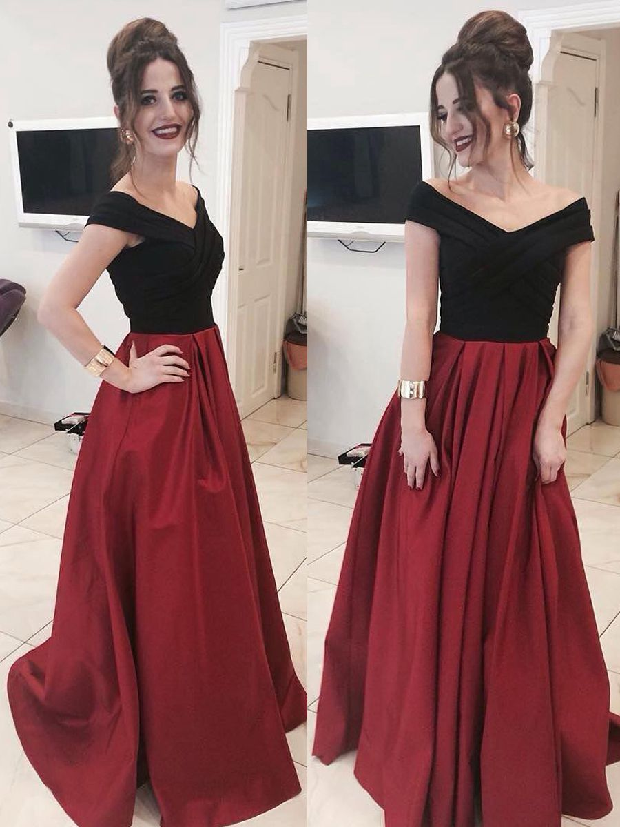 A-Line Off-the-Shoulder Long Prom Dresses Evening Gowns 11