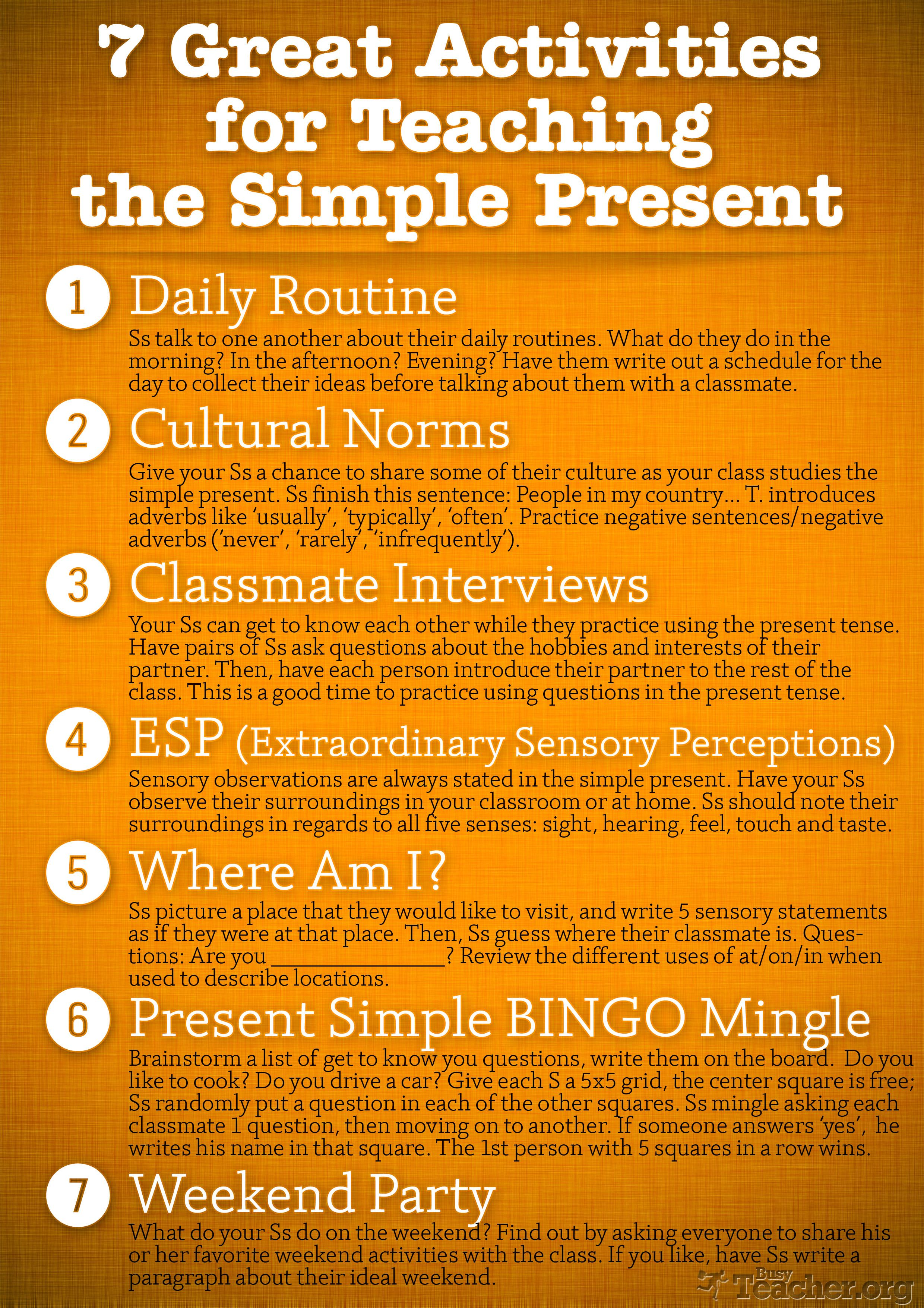 7 Great Activities To Teach The Simple Present Poster