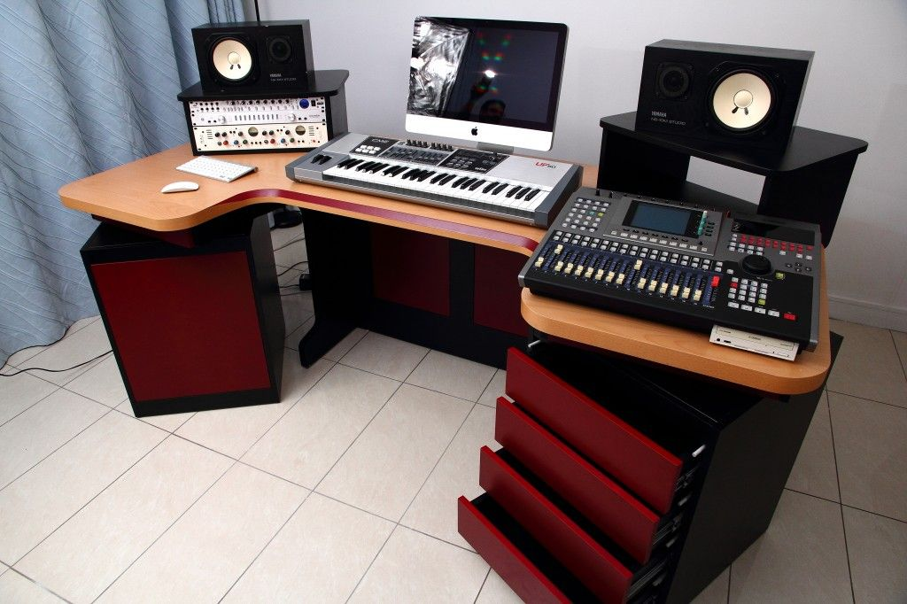 home studio desk design. Mesmerizing Recording Elliptic Studio Desk Design Ideas With Four Drawer  Storage Feat Red And Black Color