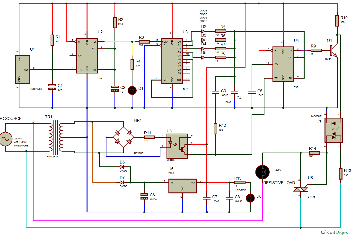 Led Verlichting Dimmen Schema Ir Remote Controlled Triac Ac Light Dimmer Circuit Diagram