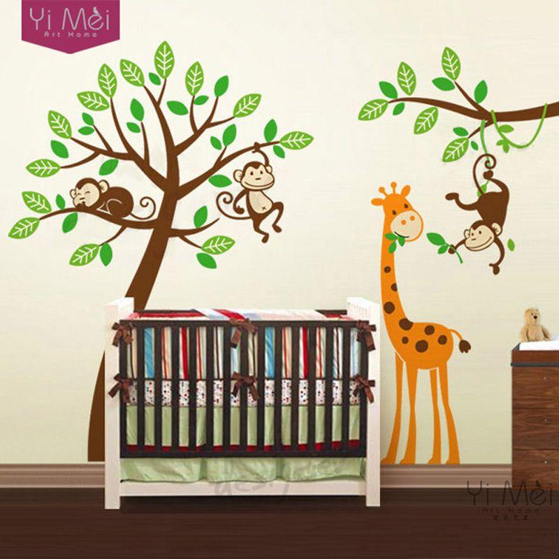 cartoon tree wall decals zoo monkey font b giraffe b font sticker