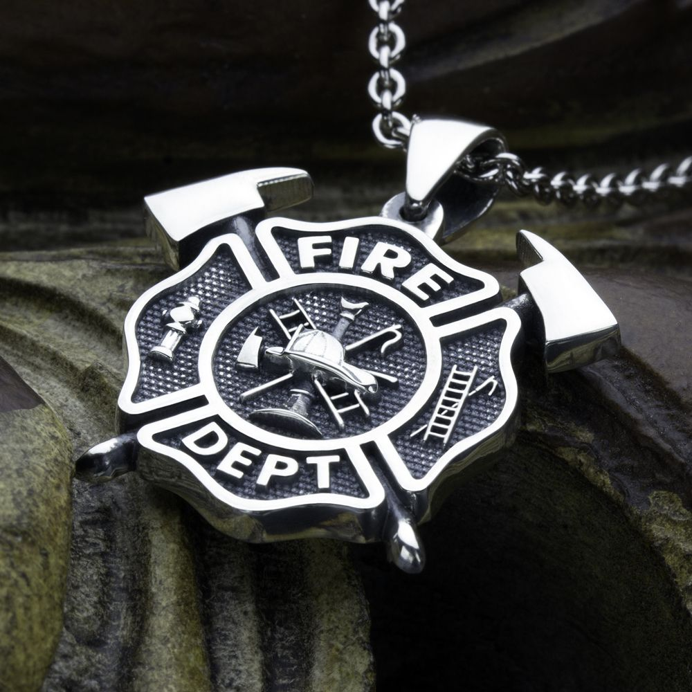 Small firefighter fire department maltese cross with crossed axes small size firefighter maltese cross fire department with crossed axes sterling silver necklace pendant david daffer aloadofball Gallery